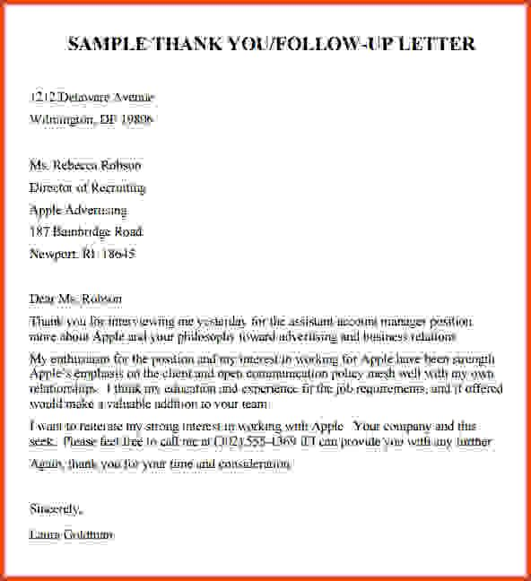 Follow Up Cover Letter: Follow Up Email After Interview Template