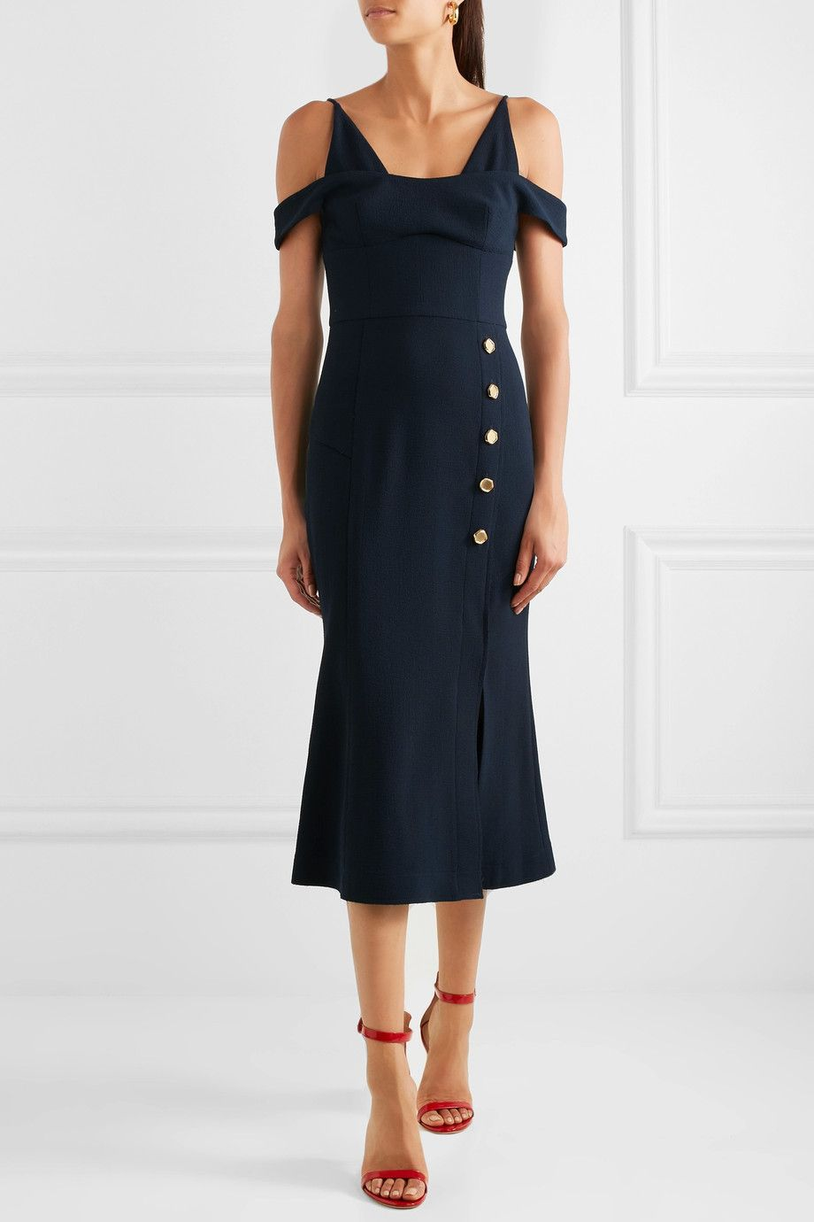 Beltrán Cold-shoulder Crepe Midi Dress - Navy Rebecca Vallance DP44LD5