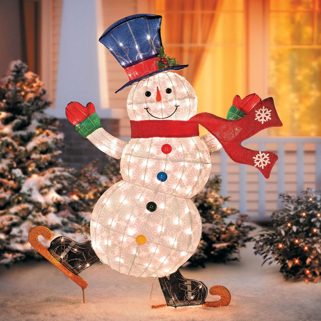 A Cheerful Ice Skating Snowman Is Just The Christmas Decoration Your Yard Needs