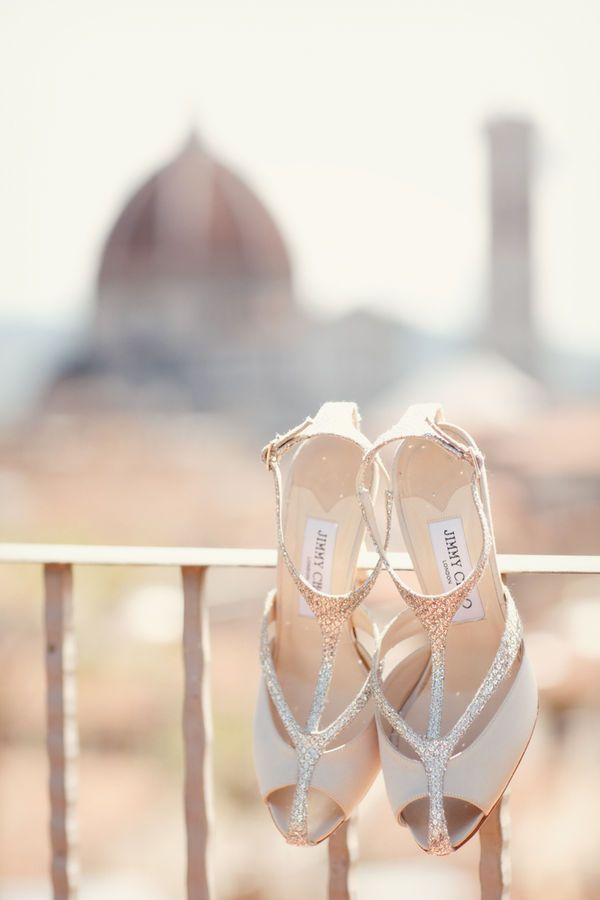 style me pretty - real wedding - italy - florence wedding - bride - getting ready - wedding shoes - jimmy choo