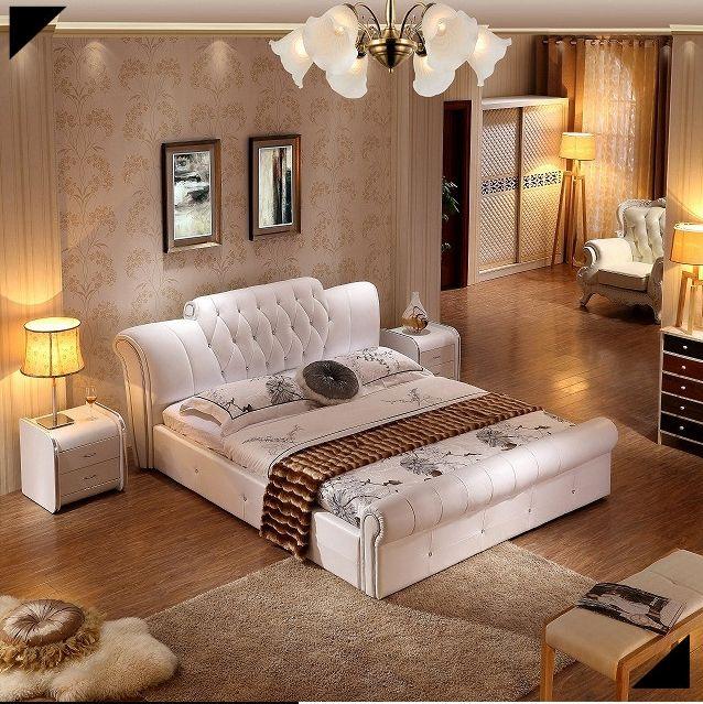 In vera pelle moderna morbido letto mobili camera da letto ...