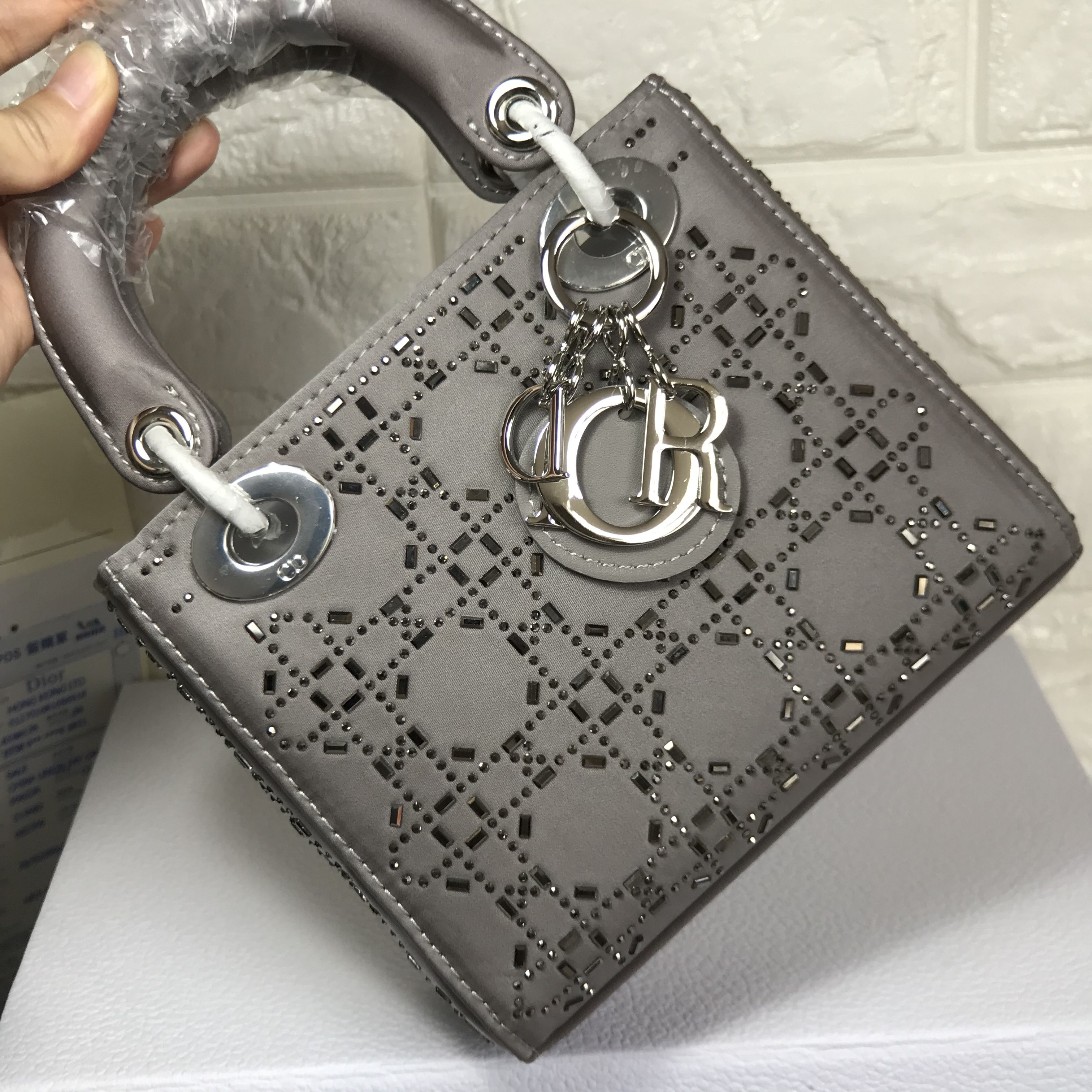 fda0a93514fa Christian Dior lady handbag mini size real silk with crystal stones  original leather version