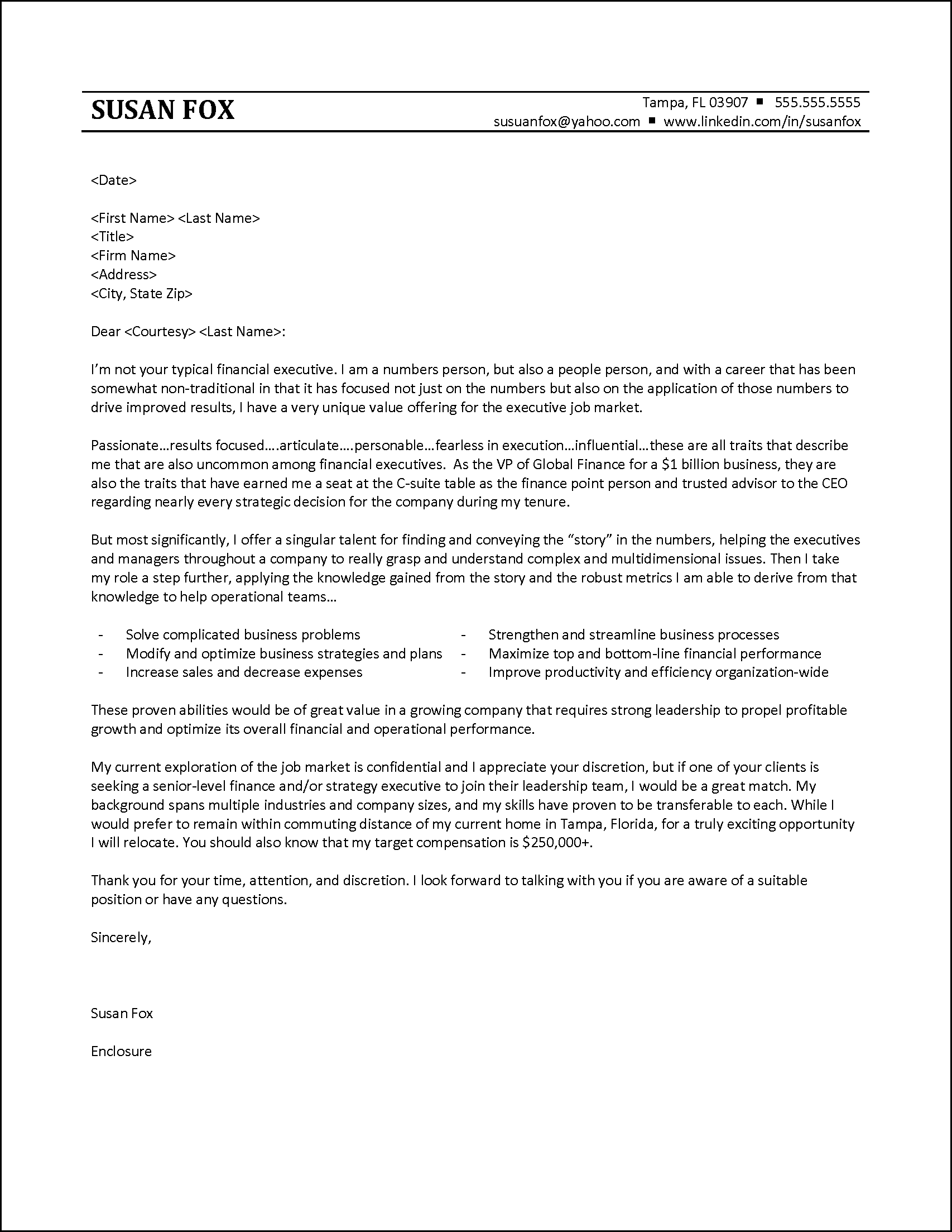 Example Cover Letter To Executive Recruiter  Executive Cover Letter