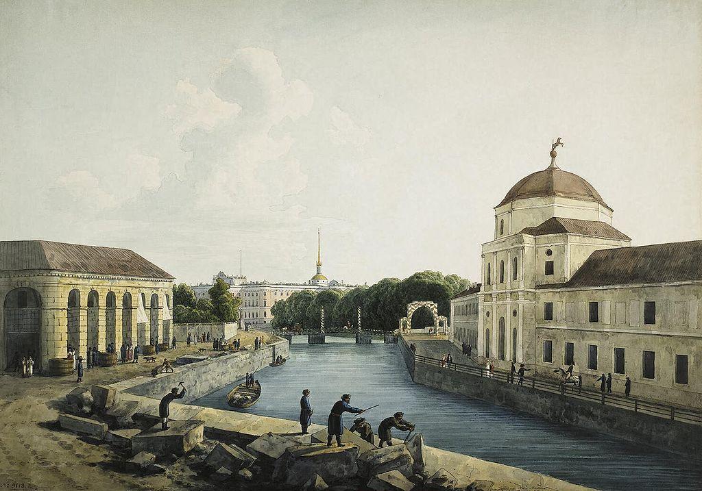 #Rasputin Grigori Jefimovitsj   View of Moika River by Imperial Stables 1809   Painting by Andrey Yefimovich Martynov