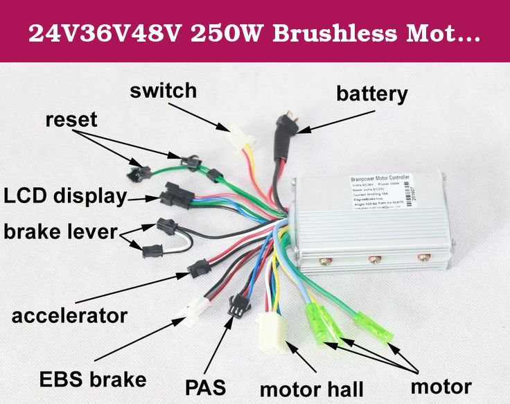 24v36v48v 250w Brushless Motor Controller Electric Bicycle Hub Hall Sensor Controler Vehicle: Electric Bike Controller 36v Wiring Diagram At Johnprice.co