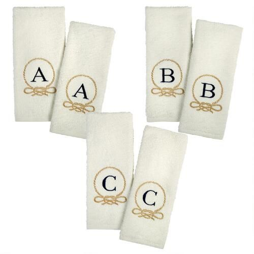 One of my favorite discoveries at ChristmasTreeShops.com: Rope Loop Monogram Hand Towels, 2-Pack