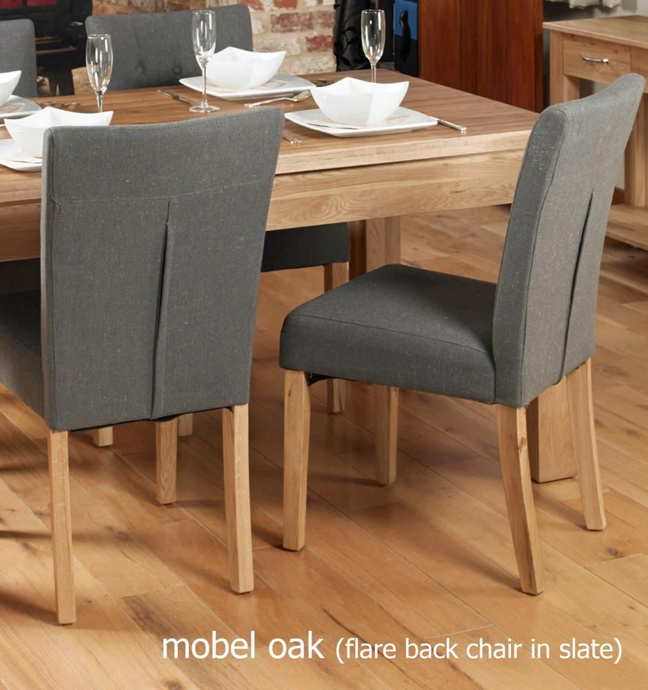 Oak Flare Back Upholstered Dining Chair – Slate (Pack of Two) by Baumhaus