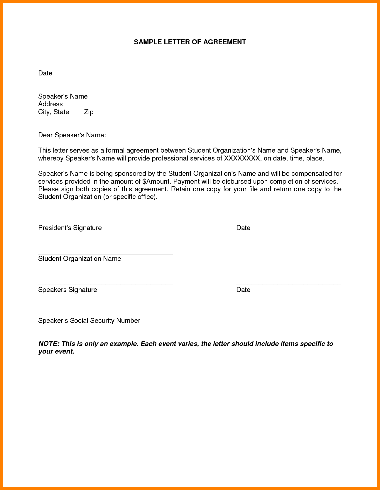 Sample Letter For Termination Just Agreement Payment Example