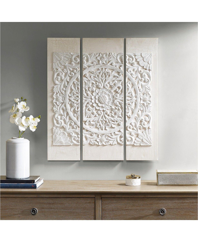 Jla Home Madison Park Mandala White 3 Pc 3d Embellished Canvas Wall Art Set Reviews Wall Art Macy S In 2020 Canvas Wall Art Set 3 Piece Wall Art Wall Art Sets