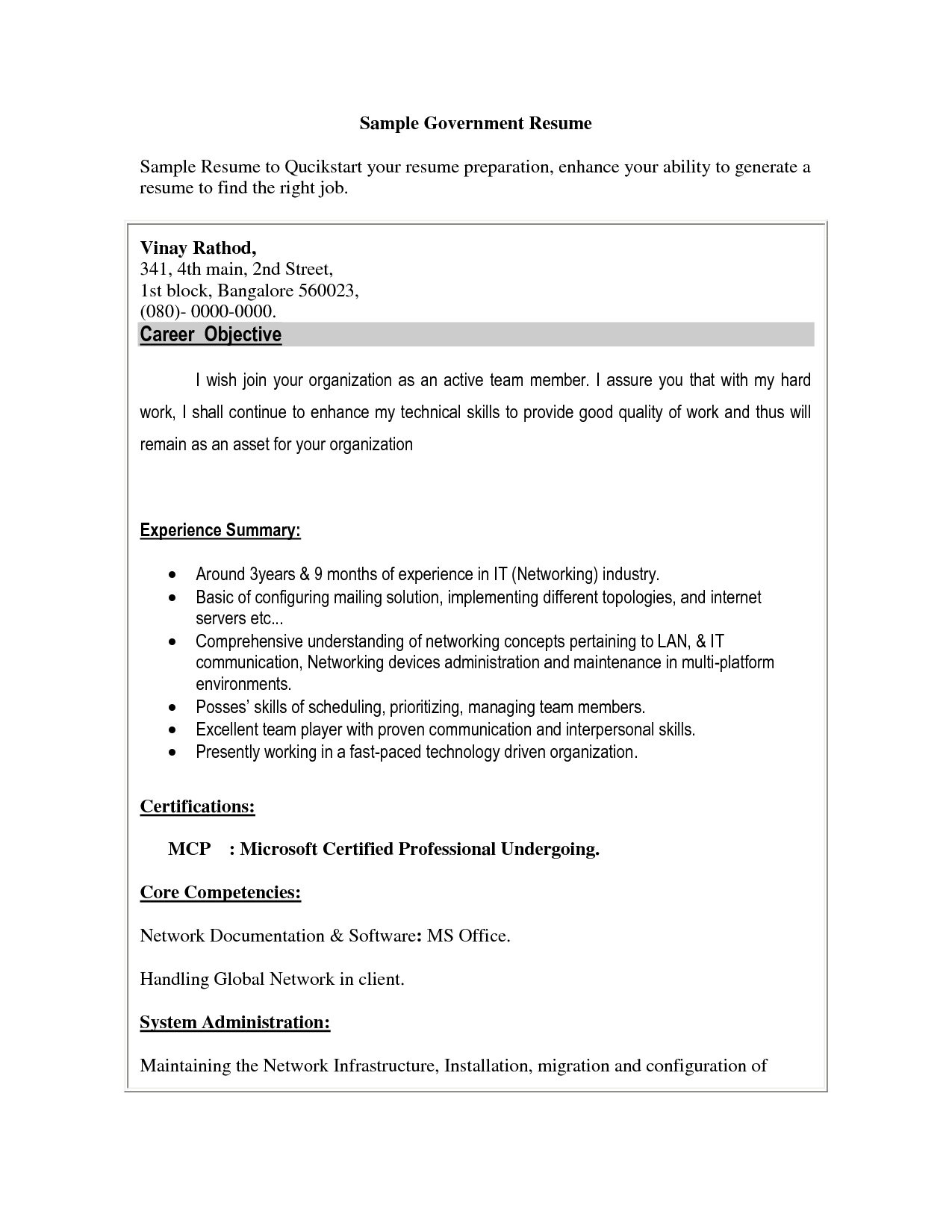 Free Resume Samples For Government Jobs Government Resume