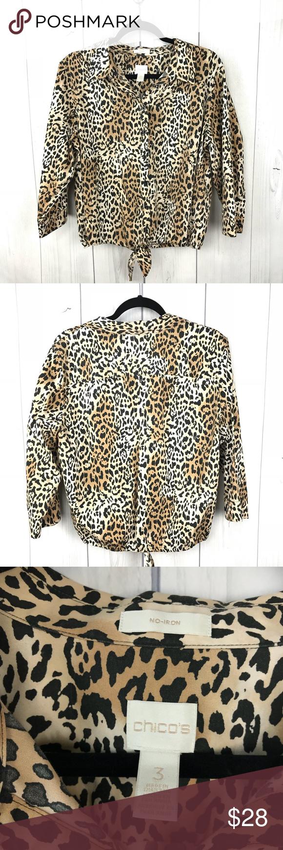 9c2e0d4f6e370f Chico s Leopard Print 3 4 Sleeve Tie Front Top XL Chico s leopard print 3