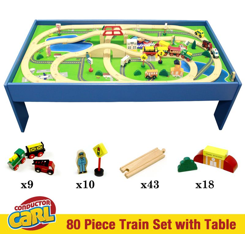 Conductor Carl 80 Piece Train Table and Playboard Set. Compatible with Thomas the Train and Brio. Plus FREE Conductor Carl Train!  sc 1 st  Pinterest & This Conductor Carl train set includes: 1 Conductor Carl Engine Car ...
