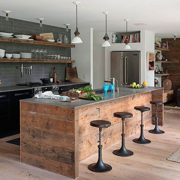 Modern Industrial Kitchen Design Ideas Wood Kitchen Island Swivel Bar Stools Wood Shelves