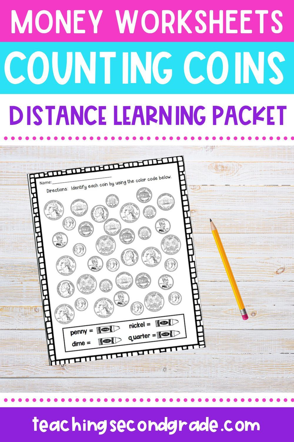 Money Worksheets Counting Coins Great Practice For 1st And 2nd Grade Money Worksheets Distance Learning Math Activities [ 1500 x 1000 Pixel ]