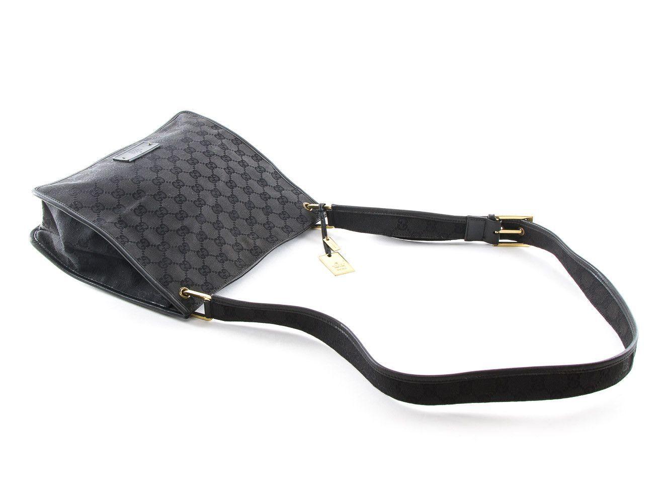 5a45280f7b6d Authentic Gucci black crossbody messenger bag signature GG monogram ...
