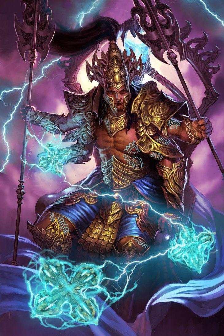 IndraGod of Thunder God illustrations, Hindu gods