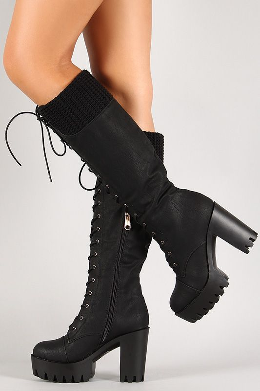 Knit Cuff Lug Sole Knee High Platform Boot | Knee high