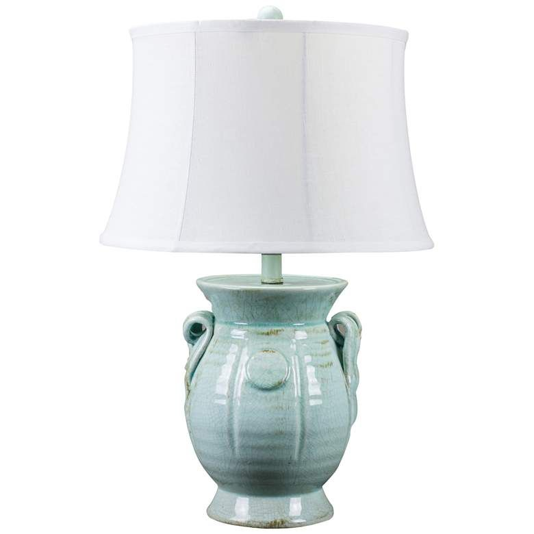 St Tropez Aqua Blue Urn Ceramic Table Lamp 24r94 Lamps Plus In 2020 Ceramic Table Lamps Table Lamp Ceramic Table