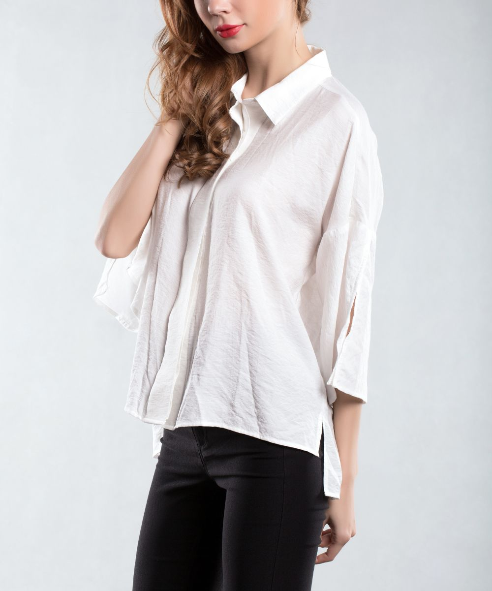 White Split-Sleeve Button-Up Top