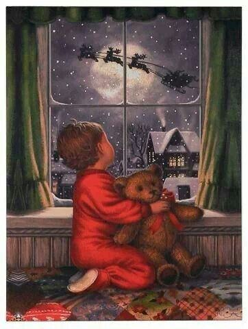 Christmas  boy with teddy bear watching Santa Claus