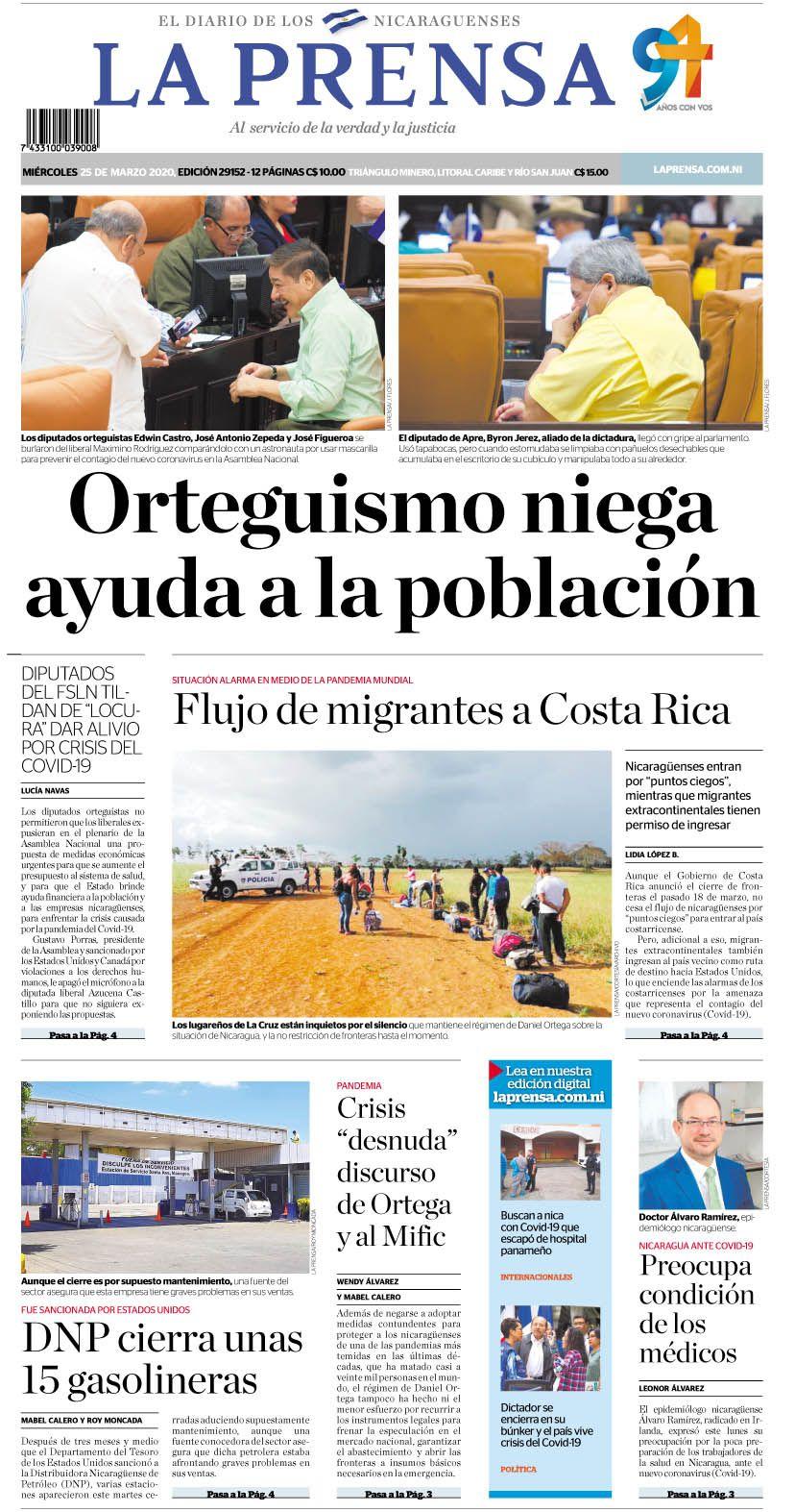 Caricatura 25 3 2020 Nicaragua Noticias