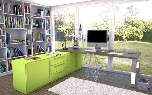 Einrichtungsideen Büro arbeitszimmer zuhause limonengruen 488x306 jpg 488 306 living