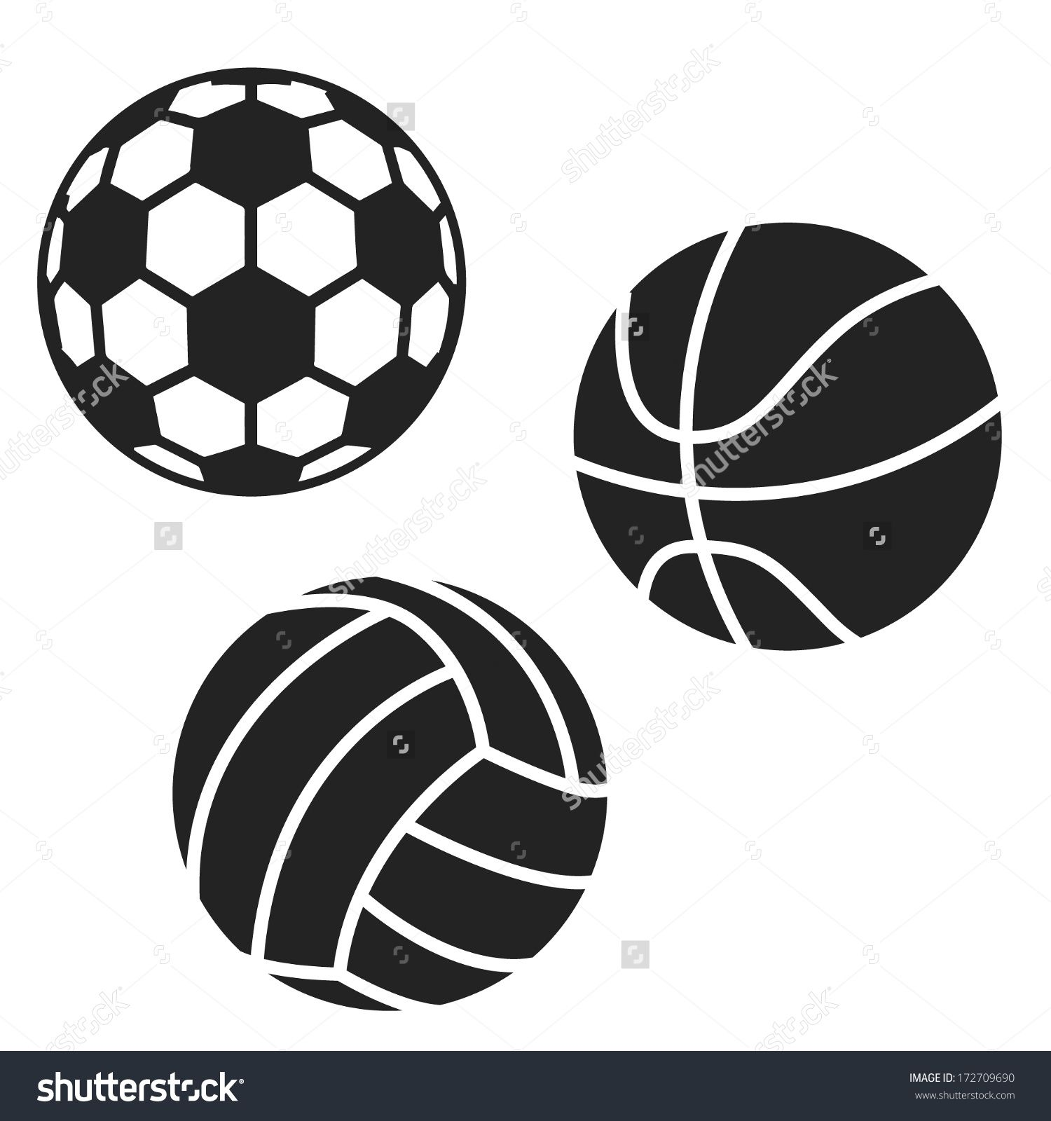 Sport Balls Black White Icons Football Stock Vector 172709690 Sports Balls Icon Black And White
