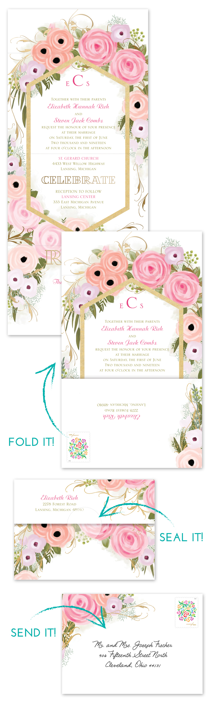 no assembly party necessary this smart design combines your wedding invitation and rsvp card into - Wedding Invitation Assembly