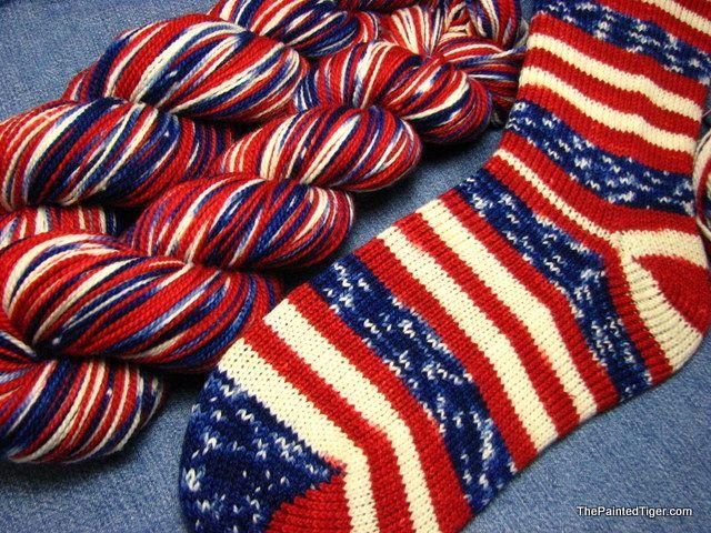 Grand Old Flag - Tiger Twist Sock Yarn-Hand Dyed Patriotic Sock ...