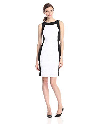 Calvin Klein Women S Wavy Knit Sheath Dress Ivory Black 6
