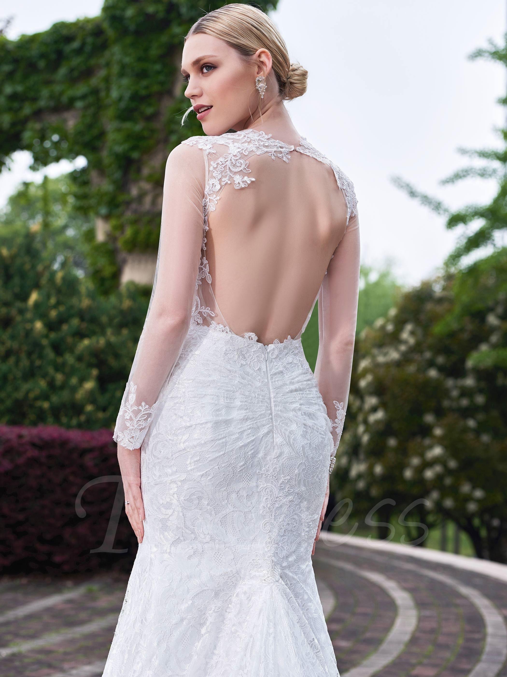 Long Sleeves Open Back Lace Sweetheart Mermaid Wedding Dress Wedding Dress Accessories Wedding Dresses Mermaid Sweetheart Lace Mermaid Wedding Dress