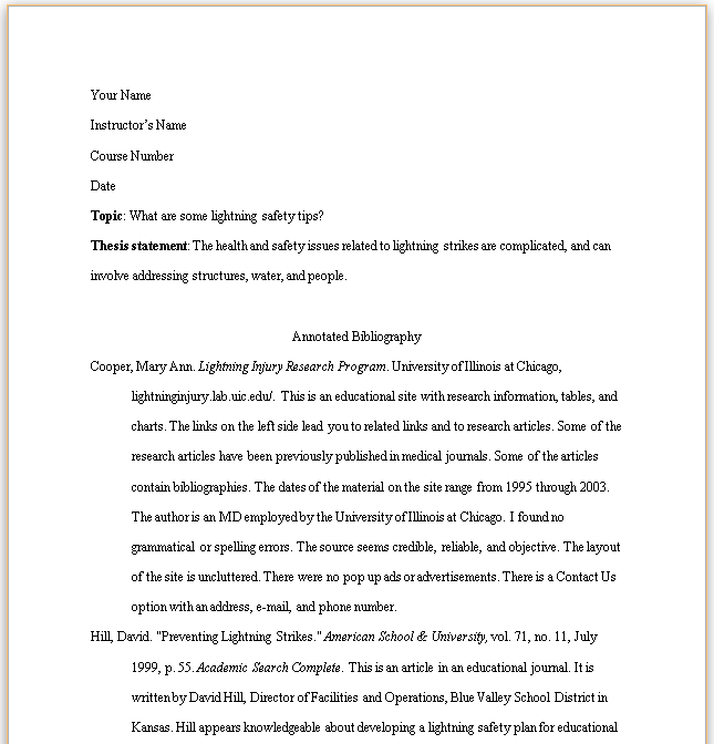 Mla Th Annotated Bibliography Example  Student Centered