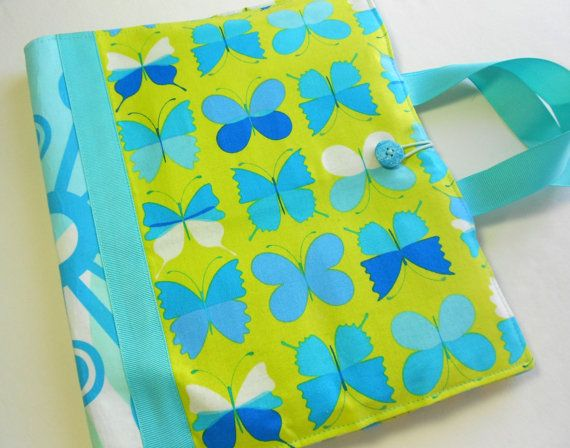 coloring book and crayon travel tote in butterfly fabric - Coloring Book And Crayon Holder