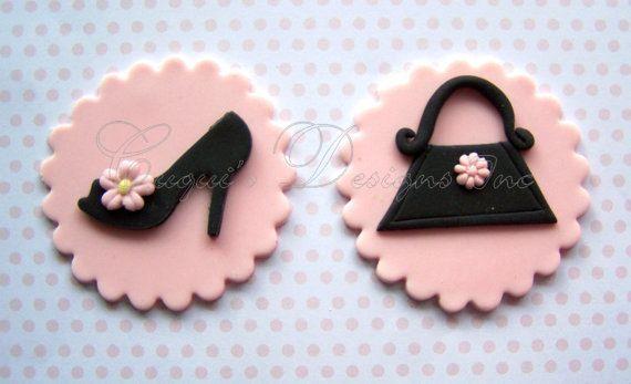 mode diva collection high heels schuhehandtasche essbare cupcake topper fondant handtasche und. Black Bedroom Furniture Sets. Home Design Ideas