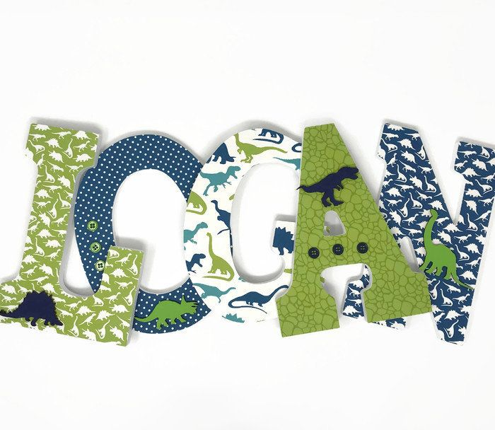 Dinosaur Nursery Decor, Wood Letters, Dinosaur Letters, Boys Bedroom Decor, Personalized Baby Gifts