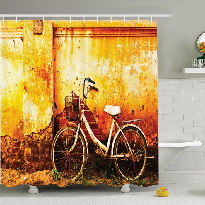 Retro Bike Rusty Cracked Wall Shower Curtain Set | Shower Curtain ...