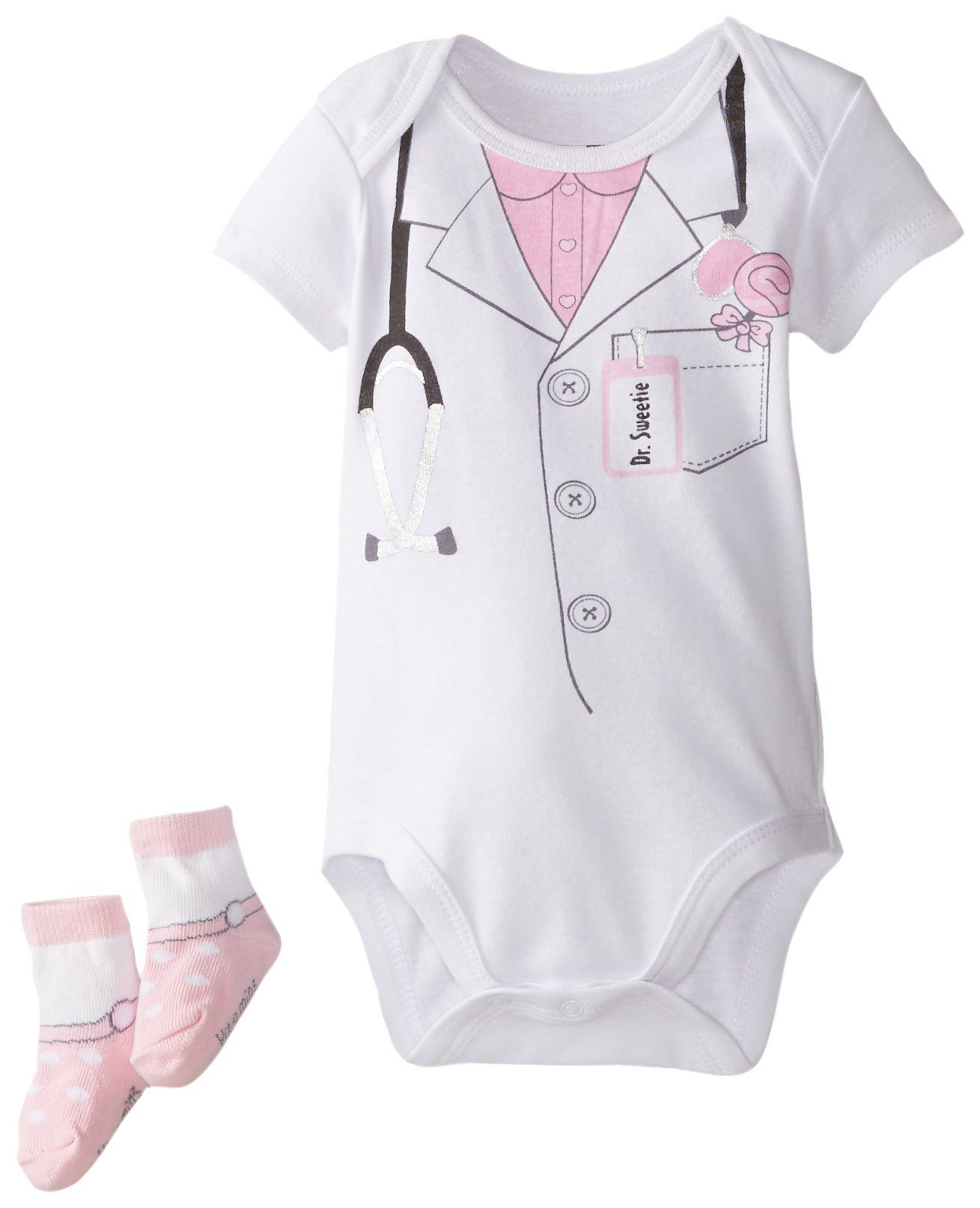 Vitamins Baby Baby Girls Newborn Girl Doctor Bodysuit with Socks