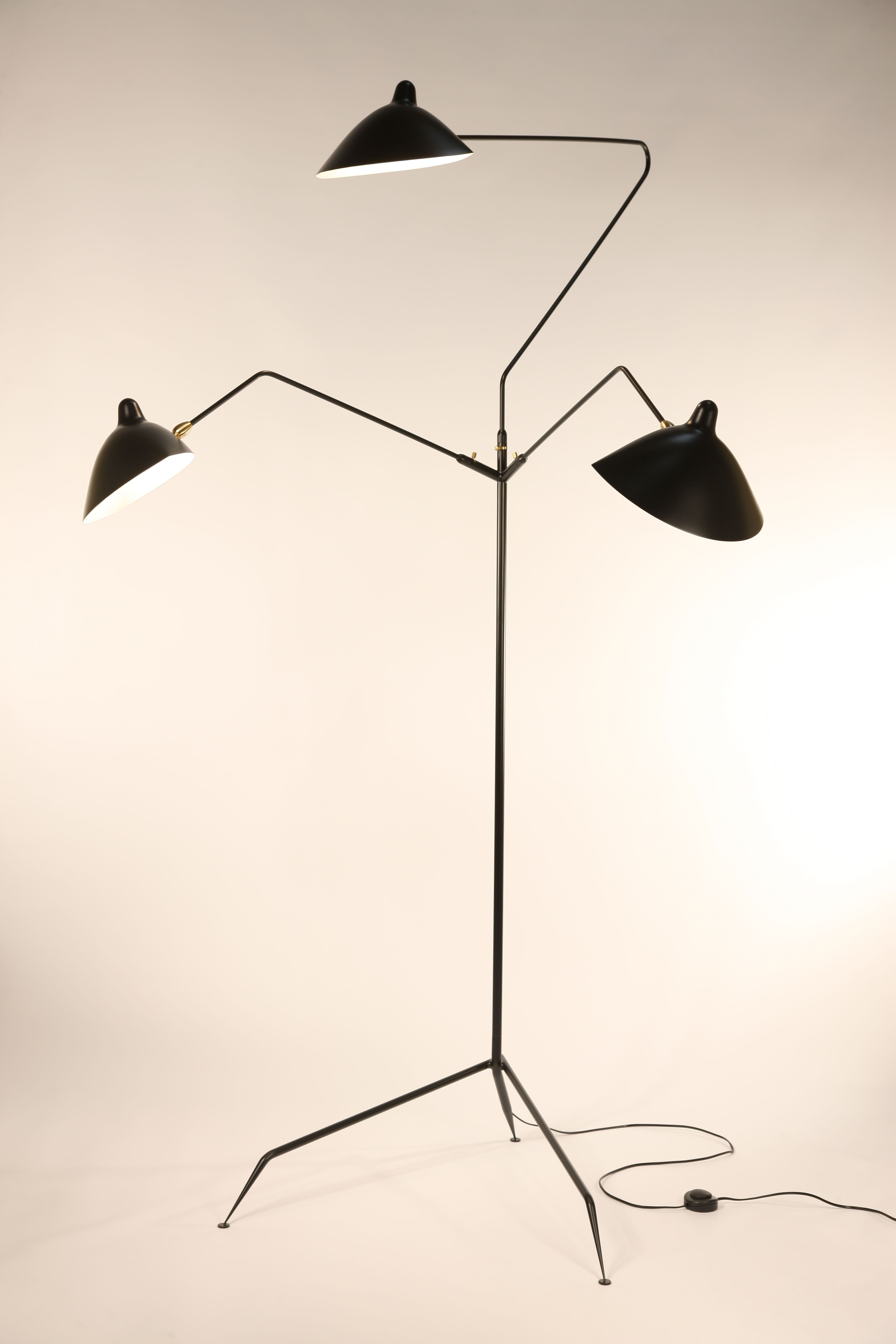 replica serge mouille three arm standing floor lamp lights. Black Bedroom Furniture Sets. Home Design Ideas