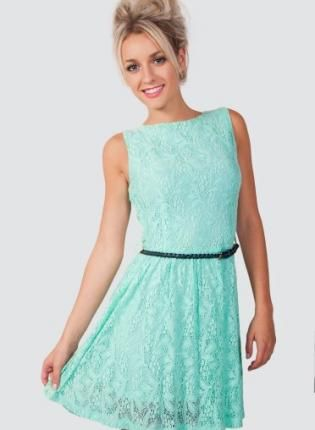 Mint Green Lace Skater Dress With Black Skinny Belt Sleeveless Casual