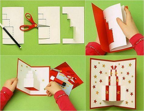 comment fabriquer une carte Pop up Noël en papier blanc et rouge