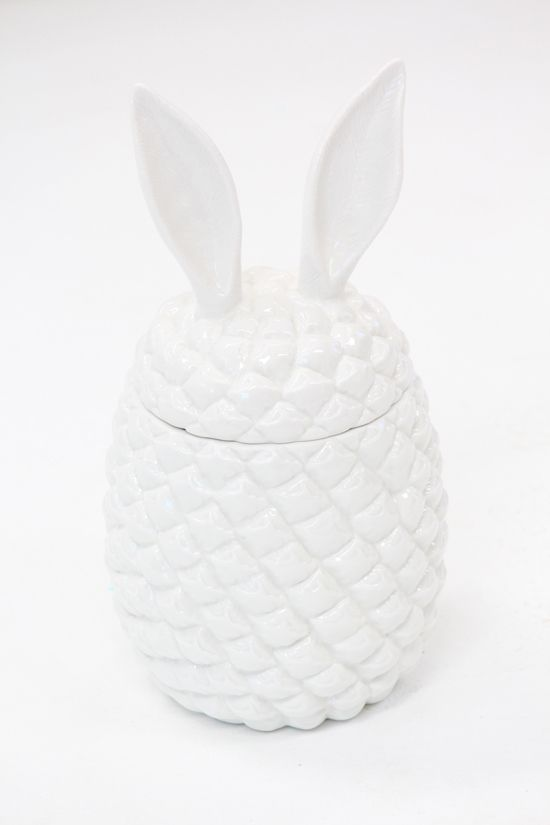 Ceramic Pineapple Bunny Container, $120