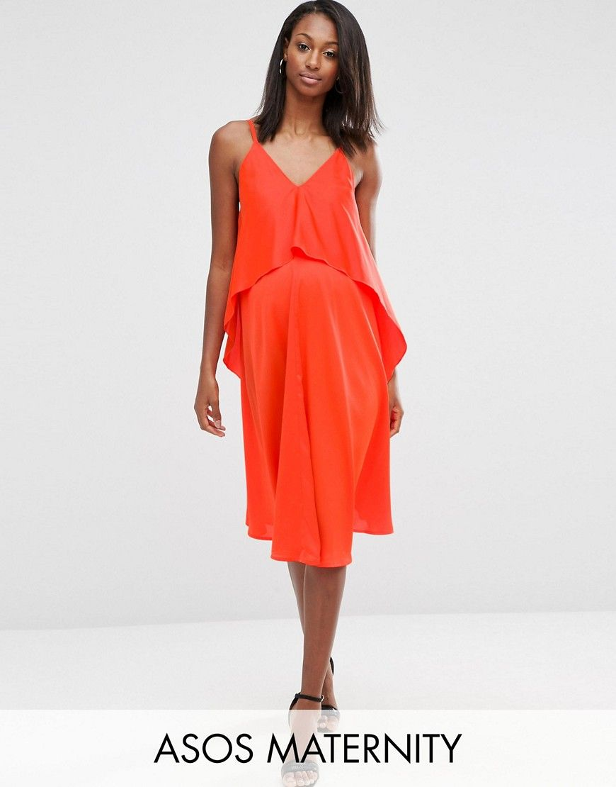 Asos maternity asymmetric midi dress with double layer orange asos maternity asymmetric midi dress with double layer orange ombrellifo Images