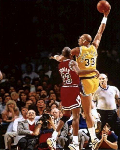 Michael Jordan guarding Kareem