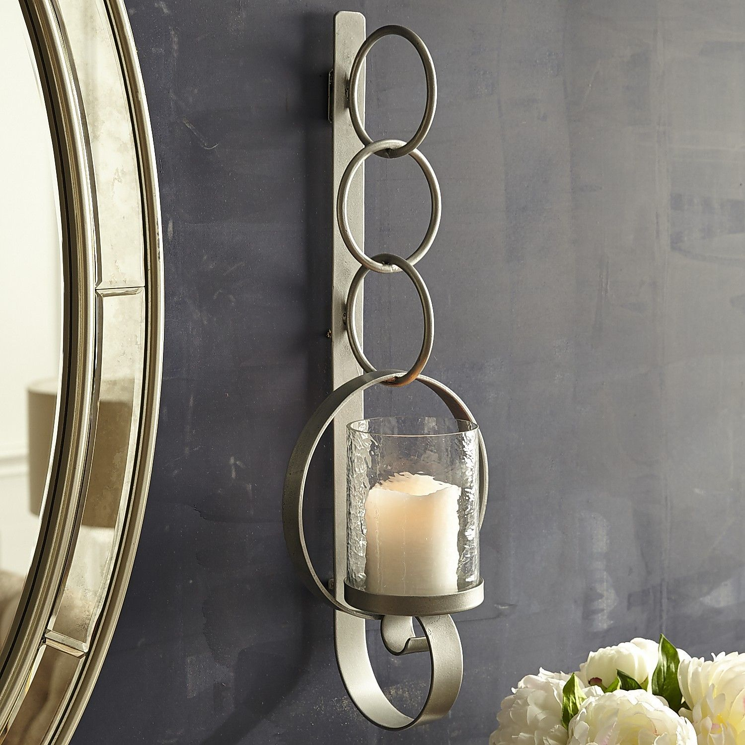 Silver Circle Pillar Candle Wall Sconce  Wall Sconces And Products Custom Candle Wall Sconces For Dining Room Decorating Design