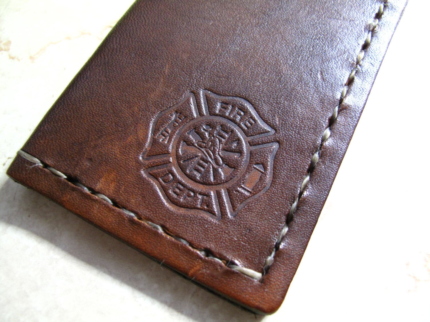 Fireman Leather Business Card holder/case/sleeve, hand stamped ...