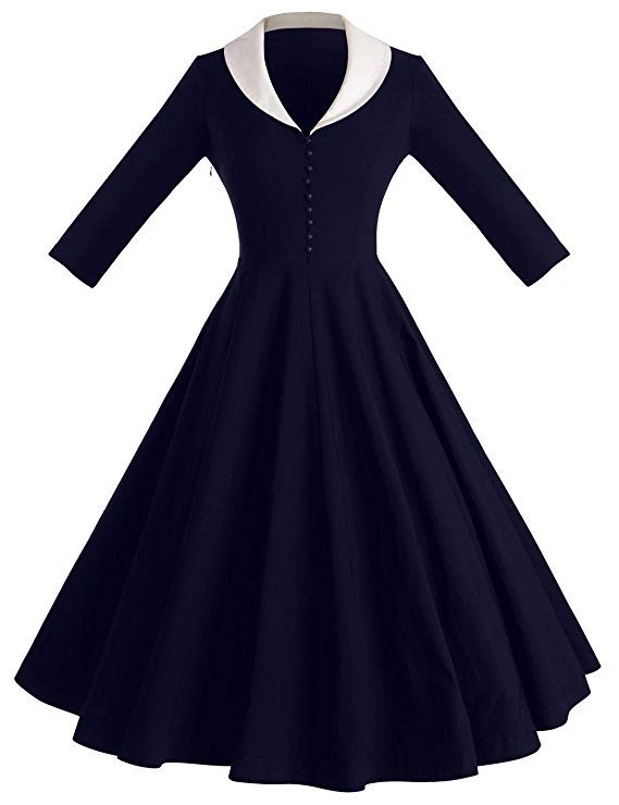208558ae653b GownTown Womens Dresses cape collar 3 4 Sleeves 1950s Vintage Dresses Swing  Stretchy Dresses