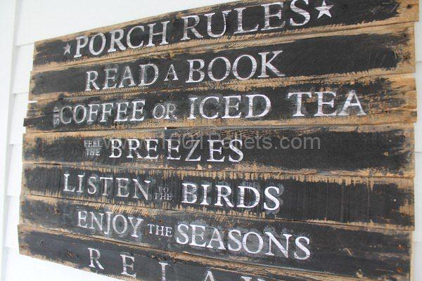 Porch Rules Pallet Sign