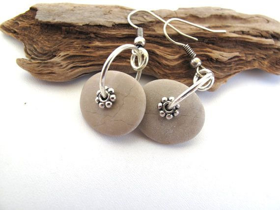 Beach Stone Earrings : PAMPER Drilled Mediterranean Natural Rock Jewelry Beach Pebble River Stone Earrings