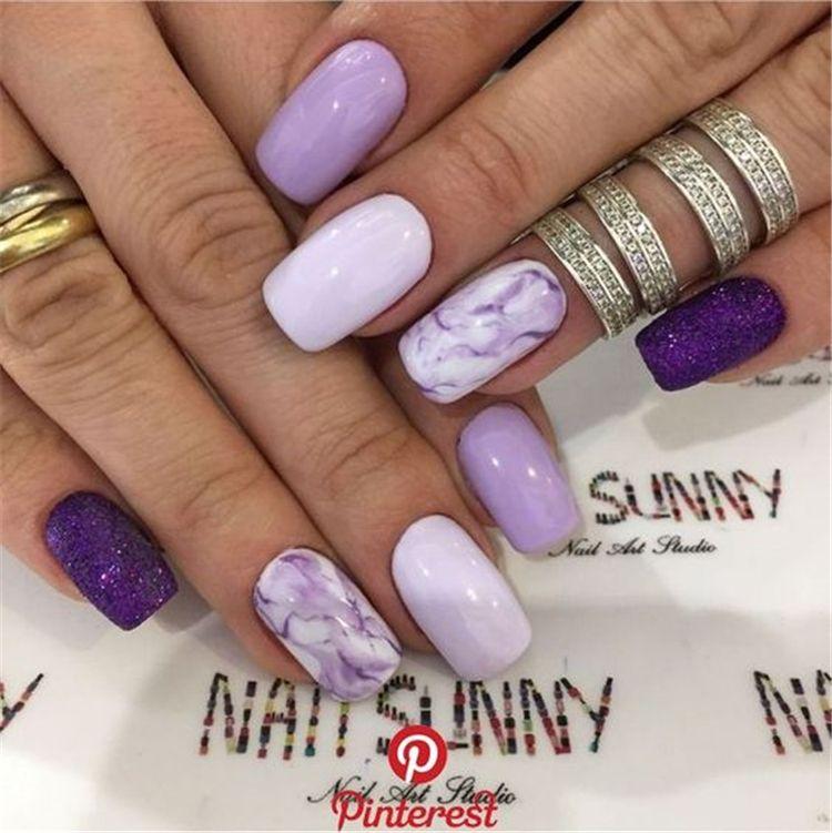 Stylish Marble Square Nail Art Designs You Would Love To Try Marble Nail Marble Square Nail Square Nail Stylish Marble S Lilac Nails Diy Nails Purple Nails