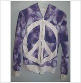 Ladies hooded purple&white peace reversible jacket,Size-Medium